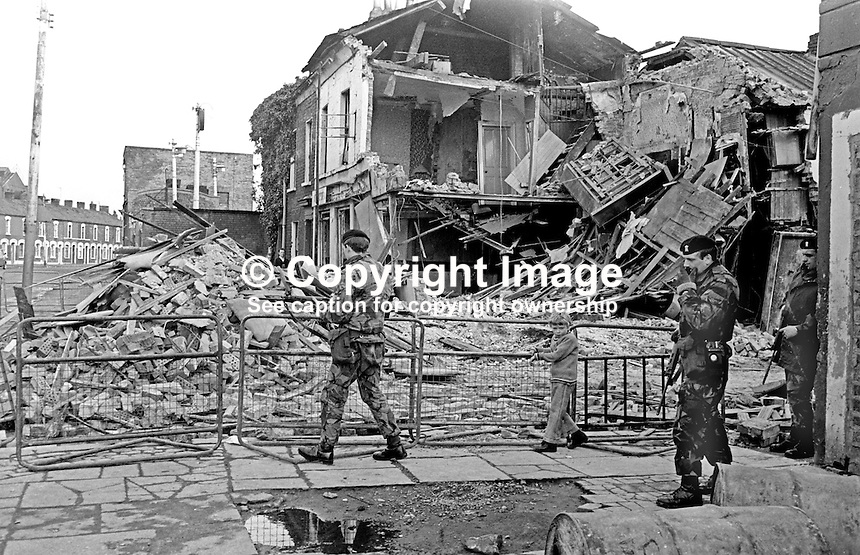 The morning after scene following a UVF bomb attack on the Strand Bar, Short Strand, Belfast, N Ireland, the previous evening, 12th April 1975, in which 5 died, 2 men and 3 woman. A sixth person, a man, died a week later from injuries. A UVF man was tried for the bombing but not convicted.  197504130335<br /> <br /> Copyright Image from Victor Patterson,<br /> 54 Dorchester Park, Belfast, UK, BT9 6RJ<br /> <br /> t1: +44 28 90661296<br /> t2: +44 28 90022446<br /> m: +44 7802 353836<br /> <br /> e1: victorpatterson@me.com<br /> e2: victorpatterson@gmail.com<br /> <br /> For my Terms and Conditions of Use go to<br /> www.victorpatterson.com