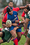 Robinson Avei finds it heavy going through the midfield.  Counties Manukau Premier Club Rugby game between Manurewa and Ardmore Marist played at Mountfort Park, Manurewa on Saturday June 19th 2010..Manurewa won the game 27 - 10 after leading 15 - 5 at halftime.