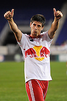 Andrew Boyens (27) of the New York Red Bulls salutes the fans after the game. The New York Red Bulls defeated the New England Revolution 3-0 during a U. S. Open Cup qualifier round match at Red Bull Arena in Harrison, NJ, on May 12, 2010.