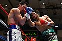 (L-R) Yusuke Nakagawa, Rikki Naito (JPN),<br /> APRIL 10, 2017 - Boxing :<br /> Rikki Naito of Japan hits Yusuke Nakagawa of Japan in the eighth round during the 8R lightweight bout at Korakuen Hall in Tokyo, Japan. (Photo by Hiroaki Yamaguchi/AFLO)