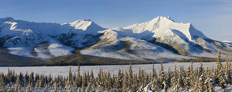 Winter panorama landscape of the Brooks range and the Dietrich river, arctic Alaska