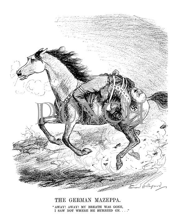 "The German Mazeppa. ""Away! Away! My breath was gone, I saw not where he hurried on...."""