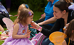 BETHLEHEM,  CT-052017JS18- Lila Corlho, 4, of Woodbury, enjoys a cupcake with her mother Viviana during a tea party at the seventh annual Fairy Festival Saturday at the Bellamy-Ferriday House and Gardens in Bethlehem. <br /> Jim Shannon Republican-American