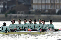 PUTNEY, LONDON, ENGLAND, 05.03.2006, Cambridge vs Molesey BC, raced  between Putney and Chiswick Eyot, CUBC, Bow Luke Walton, No. 2 Tom Edwards, No.3 Sebastian Thormann, No 4. Thorsten Englemann, No.5 Sebastian Schulte, No.6 Kieran West, No.7 Tom James, stroke Kip McDaniel and cox Peter Rudge. Pre 2006 Boat Race Fixtures,.   © Peter Spurrier/Intersport-images.com.[Mandatory Credit Peter Spurrier/ Intersport Images] Varsity Boat Race, Rowing Course: River Thames, Championship course, Putney to Mortlake 4.25 Miles