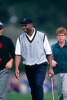 PEBBLE BEACH, CA:  Jerry Rice plays golf in the AT&T Pebble Beach National Pro Am in January of 1996. (Photo by Brad Mangin)