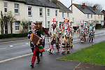 Overton Mummers. Overton Hampshire UK Boxing Day Folk Play 2014. On route to the the Old House at Home pub Station Road.