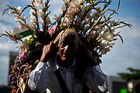 """A silletero carries flowers while she attends the traditional """"Silletero"""" parade during the Flower Festival in Medellin August 7, 2012. Photo by Eduardo Munoz Alvarez / VIEW."""