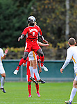 12 October 2011: Boston University Terriers' Forward Dominique Badji, a Freshman from Alexandria, VA, in action against the University of Vermont Catamounts at Centennial Field in Burlington, Vermont. The Catamounts were shut out 1-0 by the visiting Terriers. Mandatory Credit: Ed Wolfstein Photo