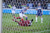 VOETBAL: HEERENVEEN: Abe Lenstra Stadion, 07-02-2015, Eredivisie, sc Heerenveen - PEC Zwolle, Eindstand: 4-0, Mark Uth (#19), Warner Hahn (#1 | PEC), ©foto Martin de Jong
