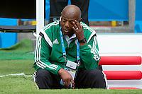 Nigeria manager Stephen Keshi looks dejected