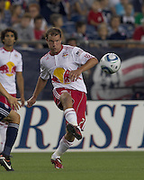 New York Red Bulls midfielder Teemu Tainio (2) passes the ball. In a Major League Soccer (MLS) match, the New England Revolution tied New York Red Bulls, 2-2, at Gillette Stadium on August 20, 2011.