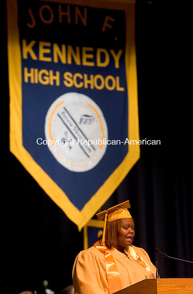 WATERBURY, CT --JUNE 16, 2008-061608JS06-Kennedy High School Senior Class President Erika Heyliger address fellow graduates and guests during Monday's commencement exercises at Kennedy High School in Waterbury. <br /> Jim Shannon/Republican-American