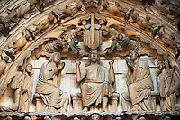 Medieval Gothic Sculptures of the South portal  Tympanum and lintel depicting Christ and the Last Judgement. Cathedral of Chartres, France. A UNESCO World Heritage Site.