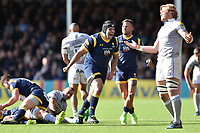 Gareth Milasinovich of Worcester Warriors celebrates at the final whistle. Aviva Premiership match, between Worcester Warriors and Bath Rugby on April 15, 2017 at Sixways Stadium in Worcester, England. Photo by: Patrick Khachfe / Onside Images