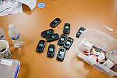 PHOENIX, ARIZONA, USA, 19/10/2016:<br /> Phones used for campaign. at the democratic party headquarters.<br /> Arizona, traditionally very republican state, has become a swing state with both main candidates equally scoring in polls. (Photo by Piotr Malecki / Napo Images)