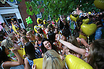 Kappa Alpha Theta sorority members celebrate during the 2011 sorority bid day event on Thursday, August 18, 2011. Photo by Brandon Goodwin | Staff