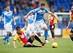 St Johnstone v Partick Thistle&hellip;29.10.16..  McDiarmid Park   SPFL<br />Richie Foster skips a challenge by Callum Booth<br />Picture by Graeme Hart.<br />Copyright Perthshire Picture Agency<br />Tel: 01738 623350  Mobile: 07990 594431