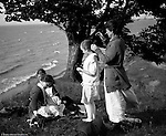 Erie PA:  Sarah Stewart and her sisters and niece relaxing on a bluff overlooking Lake Erie - 1917.