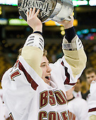 Cam Atkinson (BC - 13) - The Boston College Eagles defeated the Northeastern University Huskies 7-6 (OT) in the 2011 Beanpot Final on Monday, February 14, 2011, at TD Garden in Boston, Massachusetts.
