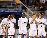 Players of the University of Akron before the 2010 College Cup semi-final against the University of Michigan at Harder Stadium, on December 10 2010, in Santa Barbara, California. Akron won 2-1.