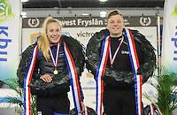 SCHAATSEN: HEERENVEEN: 03-02-2017, KPN NK Junioren, Kampioenen Junioren C, Debby Behr en Daan Spruit, ©foto Martin de Jong