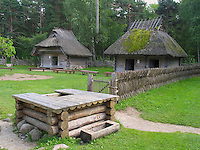 Old Blockhouses and Well in Rocca Al Mare Museum, Tallinn, Estonia