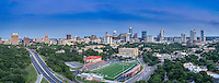 We capture this aerial panorama cityscape of Austin from a different pov of the city. This views includes the Texas Capital up 15th street and then up Lamar.  This was my old stomping grounds which melds the old and new Austin together.  The stadium now called House Park, ACC campus which was the old Austin High, the new skate park next to the stadium.  You can see that there is still plenty of new buildings going up it is an ever changing place in downtown part of the city.