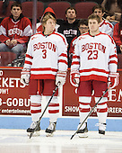 T.J. Ryan (BU - 3), Dalton MacAfee (BU - 23) - The visiting Bentley University Falcons defeated the Boston University Terriers 4-1 (EN) on Saturday, December 14, 2013, at Agganis Arena in Boston, Massachusetts.