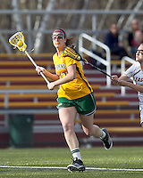 University of Vermont attacker Sydney Mas (17) brings the ball forward. Boston College defeated University of Vermont, 15-9, at Newton Campus Field, April 4, 2012.