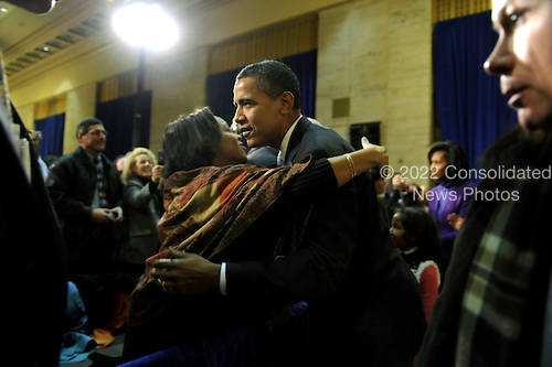 Philadelphia, PA - January 17, 2009 -- United States President-elect Barack Obama greets supporters before a rally to kickoff his Whistle Stop Train Tour in Philadelphia on Saturday, January 17, 2009. The ceremonial trip will carry President-elect Obama, Vice President-elect Biden and their families to Washington for their inaugurations with additional events in Philadelphia, Wilmington and Baltimore. Obama will be sworn in as the 44th President of the United States on January 20, 2009. .Credit: Kevin Dietsch - Pool via CNP
