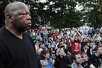 Congressman and civil rights icon John Lewis visited the Occupy Atlanta rally at Woodruff Park October 7 approximately 45 minutes after its planning session, or General Assembly, started. Despite saying he did not want to speak, the civil rights icon was invited to address to the crowd. <br /> <br /> When the topic of allowing Lewis to speak was presented to the group, &quot;Joe&quot; (pictured in red) held up his arms to &quot;block&quot; Lewis from speaking.<br /> <br /> &quot;Joe&quot; said he was against Lewis speaking because the movement is &quot;not about one individual&quot; and that it has been built on the idea of &quot;no hierarchy.&quot; The crowd decided the congressman could speak after the General Assembly, but Lewis had to leave for a previous engagement.<br /> <br /> &quot;I support the protesters in New York and here,&quot; Lewis told me before leaving Woodruff Park. &quot;It is the right time and the right place to be... It is the will of the people. When I was young we did similar actions. It is grassroots democracy at its best. I think something good will come of the moment.&quot;
