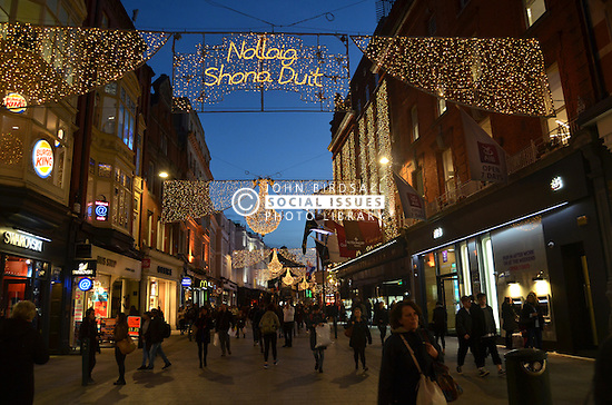 Christmas lights in Grafton Street, Dublin, Ireland Nov 2016