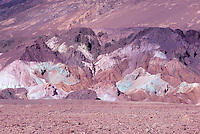 Death Valley National Park, California, CA, USA - Artist's Palette along Artist's Drive in the Black Mountains - Volcanic Rock Formations colored by Oxidized Metals
