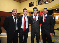 From left to right DC United midfielder Fred, midfielder Stephen King, defender Rodrigo Brasesco and midfielder Junior Carreiro, at the 2011 Season Kick off Luncheon, at the Marriott Hotel in Washington DC, Wednesday March 16 2011.