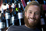 SOMERSET WEST, SOUTH AFRICA - MARCH 23: Pieter H. Waiser, the founder of Blank Bottle wine company with some of his wine bottles in his office on March 23, 2010 in Somerset West, South Africa. Mr. Waiser buys bulk wine from different wineyards around Cape Town and mixes his own blends. He doesn't own a wine farm himself and operates from a small office on a farm. (Photo by Per-Anders Pettersson/Getty Images)