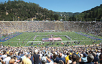 American flag during the national anthem. The California Golden Bears defeated the Colorado Buffaloes 52-7 at Memorial Stadium in Berkeley, California on September 11th, 2010.