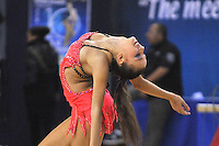 Daria Dmitrieva of Russia performs handsfree gala exhibition at Holon Grand Prix, Israel on March 5, 2011.  (Photo by Tom Theobald).Photo note: Same image, horizontal view