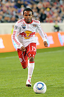 Dane Richards (19) of the New York Red Bulls. The New York Red Bulls defeated the New England Revolution 2-0 during a Major League Soccer (MLS) match at Red Bull Arena in Harrison, NJ, on October 21, 2010.