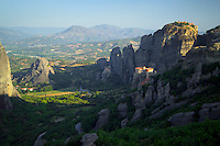 Kalambaka, Kastraki, Meteora, Greece, June 2006. Roussanou monastery in the foreground and Agios Nikolaos Anapafsas monastery in the background, on the top right the Great Meteora Monastery. The Monastaries of Meteora can be found high on the steepest rocks. Photo by Frits Meyst/Adventure4ever.com