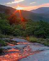 """SALT ROCK SUNRISE"" -- Sunrise from the Salt Rock in the Panthertown Valley of western North Carolina. The valley is often called the Yosemite of the East for its many cliffs and waterfalls."