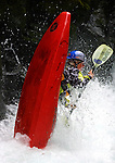 A kayaker gets upended while barreling down BZ Falls while on a run in the Extreme Kayaking finals during the Subaru Gorge Games on the White salmon River.