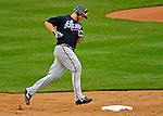 12 April 2008: Atlanta Braves' catcher Brian McCann rounds second base during a game against the Washington Nationals at Nationals Park, in Washington, DC. The Braves defeated the Nationals 10-2...Mandatory Photo Credit: Ed Wolfstein Photo