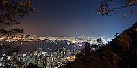 Night falls over Hong Kong &amp; Kowloon