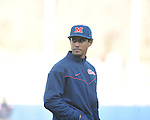 Assistant coach Matt Mossberg at the Ole Miss baseball alumni game at Oxford-University Stadium in Oxford, Miss. on Saturday, February 5, 2011.