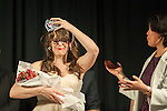Dr. Stephanie Tikkanen, assistant professor in the School of Communication Studies, places her tiara on her head after she has been announced the winner of the Ava Nichols Faculty Pageant in Baker University Ballroom on Wednesday, February 25.