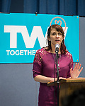 Wyandanch, New York, USA. March 26, 2017. BETH MEHRTENS MCMANUS, an administrator of TWWLI, introduces program at Politics 101 event, the first of series of activist training sessions for members of TWW LI, the Long Island affiliate of national Together We Will.