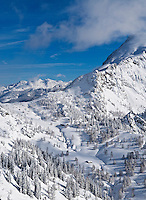 Schneibsteinhaus and Torrener Joch pass (1733m) in winter viewed from Jenner, Berchtesgaden national park, Germany