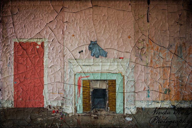 Painting by Luke Da Duke on mantelpiece at Hellingly Asylum http://www.vivecakohphotography.co.uk/2011/02/14/a-room-with-a-dog-2/