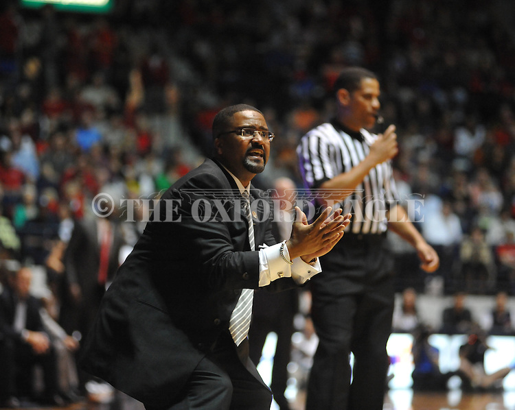 Ole Miss vs. Missouri head coach Frank Haith reacts to a play at the C.M. &quot;Tad&quot; Smith Coliseum on Saturday, January 12, 2013. Ole Miss defeated #10 ranked Missouri 64-49.