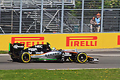 Sahara Force India F1 VJm08 Mercedes powered Formula 1 car at practice run 3 at circuit Gilles-Villeneuve during the 2015 Formula grand Prix of Canada in Montreal.